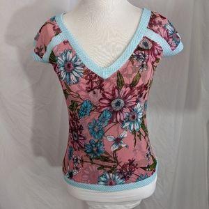 Anac by Kimmy EUC mesh floral top S mauve